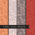 Vector Boho Leaves Patterns Set Stock Photography - 72026032