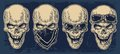 Skull Smiling With Bandana And Glasses For Motorcycle. Stock Photos - 72033453