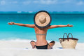 Summer Vacation Happy Beach Woman Enjoying Holiday Stock Image - 72044641