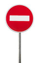 Isolated Red Road Sign On Metal Pole. No Entry Stock Photos - 72051633