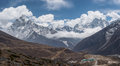 Panoramic View Of Ama Dablam And Kangtega Mountain Peak From Thu Royalty Free Stock Photography - 72062157
