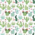 Seamless, Tileable Vector Background With Cactus And Succulents Stock Photo - 72074220