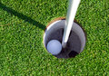 Golf Ball And Flagstick Of  Manicured Grass Of Putting Green Stock Images - 72074384