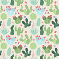 Seamless, Tileable Vector Background With Cactus And Succulents Stock Photography - 72074442