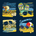 Background Summer With Lettering Texts,recliner On The Sand  Stock Image - 72077251