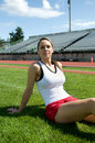 Woman Sitting At Track Stock Images - 7215614