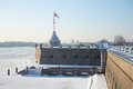 Naryshkin Bastion With Tower, Frosty February Day. Peter And Paul Fortress, St. Petersburg Royalty Free Stock Image - 72133276