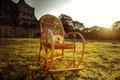 Wicker Rocking-chair Is Waiting For The Holiday-maker Stock Image - 72159341