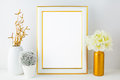 White Frame Mockup With Small Cactus Royalty Free Stock Photo - 72168295