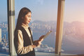 Asian Female Standing In Modern Office Interior Against Window With Cityscape View Of New York Royalty Free Stock Photography - 72173167