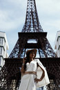 Raven Haired Indian Lady Posing Against Fake Eiffel Tower Royalty Free Stock Photos - 72177038