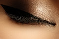 Cosmetics & Make-up. Beautiful Female Eye With Sexy Black Liner Stock Image - 72186101