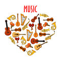 Heart With Classical Musical Instruments Symbol Stock Photography - 72186132
