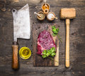Cooking Beef Steak, A Wooden Hammer For Meat, Meat Cleaver, Oil Seasoning And Dill Royalty Free Stock Photos - 72210188