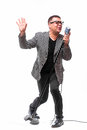 Showman Singing In Microphone With Emotional Gesture Stock Photos - 72212123