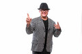 Showman Singing In Microphone With Emotional Gesture Stock Photos - 72212903