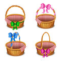 Set Of Wooden Wicker Baskets With Bows, Isolated On A White Stock Image - 72213861