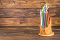 Colored Pencils In A Wooden Stand Royalty Free Stock Image - 72221796
