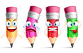 Vector Pencil Character Or Mascot Colorful Set With Facial Expressions Stock Images - 72233064