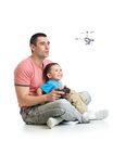 Dad And Child Son Play With Helicopter Toy Stock Image - 72233511