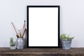 Scandinavian Style Empty Photo Frame Mock Up. Minimal Home Decor Royalty Free Stock Image - 72259446