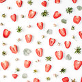 Colourful Bright Pattern Made Of Strawberries, Pink Rose Buds Stock Photos - 72267733