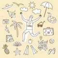 Summer Vacation Doodle Illustrations Set Stock Photography - 72288822
