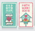 Two Cute Cards For Valentines Day, Lovely Birds Couple And Books With Heart Royalty Free Stock Image - 72292116