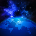 Creative Abstract Global Communication Scientific Concept: Space View Of Earth Planet Globe With World Map In Solar Stock Image - 72296211