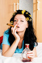 Sexy Housewife With A Bottle Of Cognac Royalty Free Stock Photo - 7234065