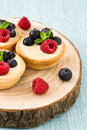 Delicious Tartlets With Raspberries And Blueberries On Tree Trunk Royalty Free Stock Images - 72308899