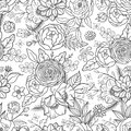 Seamless Pattern With Hand Drawn Flowers. Royalty Free Stock Photos - 72314608