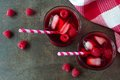 Raspberry Drinks With Straws, Overhead View On Stone Background Stock Image - 72323691