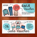Vector Set Of Discount Coupons For Woman Clothes And Accessories. Colorful Doodle Style Voucher Templates. Fashion Store Stock Photography - 72327732