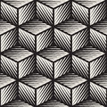Vector Seamless Black And White Cube Shape Lines Engravement Geometric Pattern Royalty Free Stock Images - 72336309