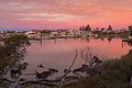 Beautiful View Of Pink Sky Over Lake Butler Boat Marina During S Stock Photo - 72343410