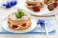 Homemade Choux Pastry Rings With Cottage Cheese Cream And Strawberries Decorated Mint Leaves Stock Image - 72345671