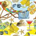 Seamless Pattern Summer, Recliner On The Sand With Hat Stock Images - 72356494