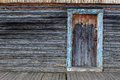 Log Cabin Wall With A Doorway. Royalty Free Stock Photos - 72361778