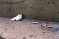 Used Syringe Thrown Down With Cigarette Butts. Concrete Dirt Floor Stock Photography - 72363112