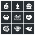 Vector Set Of Ukraine Icons. Kazak, Vodka, Village, Potato, Wicker Fence, Patriot, Sunflower, Cuisine, Dumplings. Royalty Free Stock Photos - 72376828