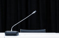 Microphone In Press Conference Room Stock Images - 72386224