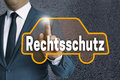 Rechtsschutz (in German Legal Protection) Car Touchscreen Is Ope Stock Images - 72393064