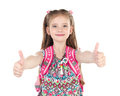 Portrait Of Smiling Schoolgirl With Two Fingers Up Royalty Free Stock Photography - 72396037