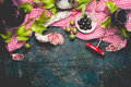 Italian Appetizer Snack On Red Cell Cotton Tablecloths With Salami, Olives And Red Wine, Dark Rustic Background Stock Photo - 72397260