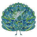 Peacock. Vintage Fantasy Bird With Floral Ornament. Royalty Free Stock Photos - 72402338