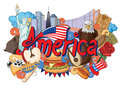 Doodle Showing Architecture And Culture Of America Royalty Free Stock Photo - 72404565