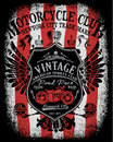 Motorcycle Label T-shirt Design With Illustration  Stock Photos - 72417113