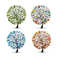 Four Seasons - Spring, Summer, Autumn, Winter. Art Tree Beautiful For Your Design Royalty Free Stock Photography - 72436947