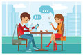 Couple In Cafe - Vector Illustration With City Landscape On Window. People Sitting At Table At Lunch Talk By Phone Royalty Free Stock Photography - 72447717